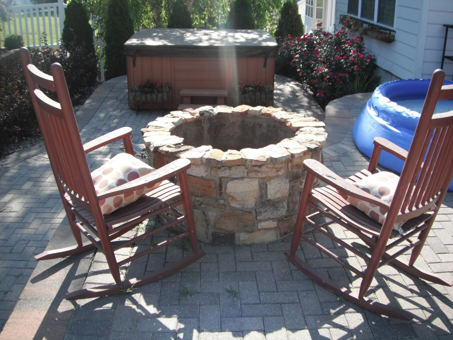 Fire Pit and Rocking Chairs