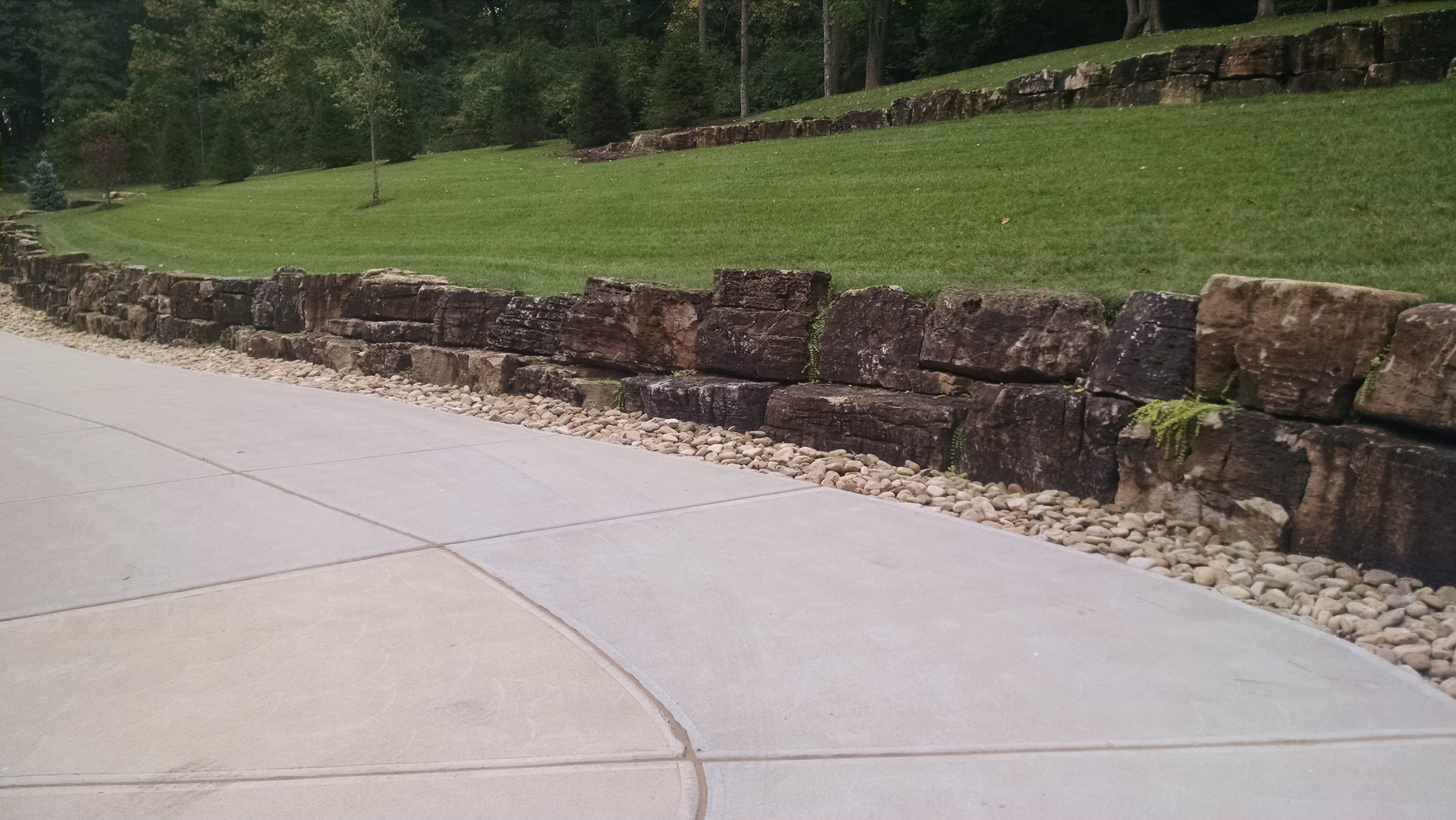 Stone Wall and Driveway
